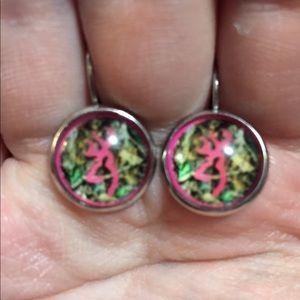 Browning Deer French Dangle Hook Earrings